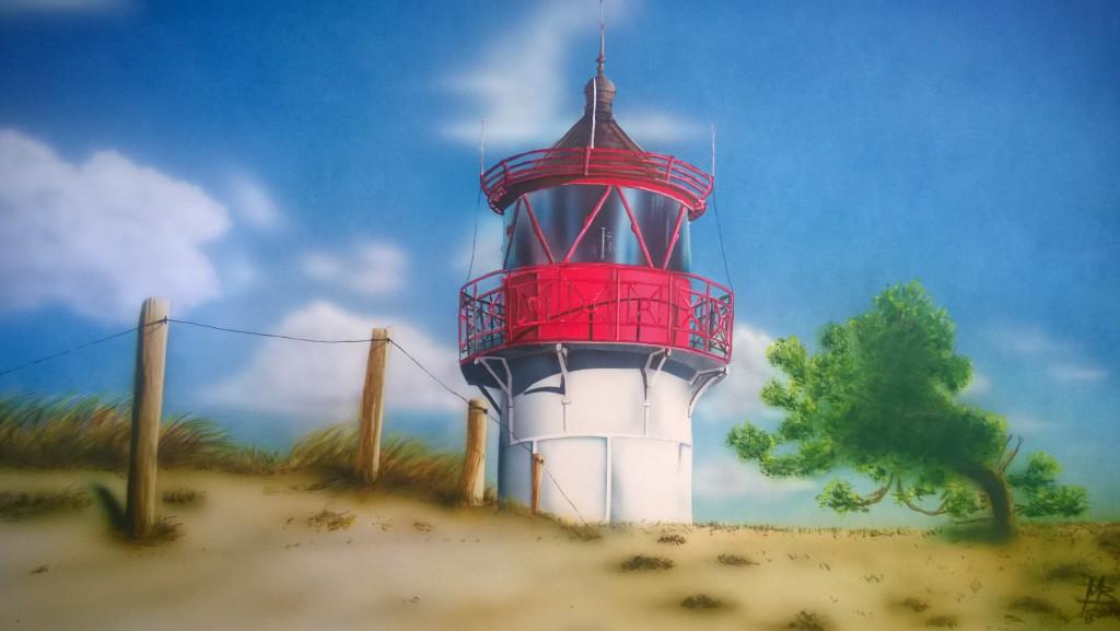 Airbush auf Kartoon Leuchturm auf Hiddensee